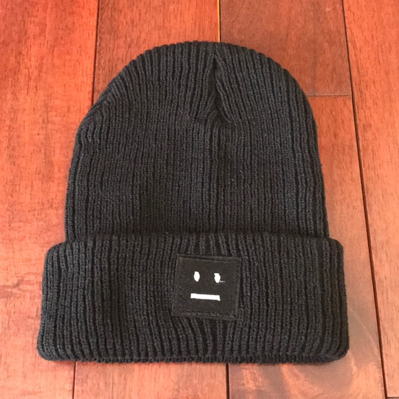 59f23b6d0f0 Acne Style Pansy Face Ribbed Beanie (NWOT)